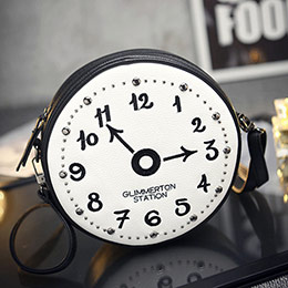 韓版愛麗絲兔子先生鐘錶創意圓形小包