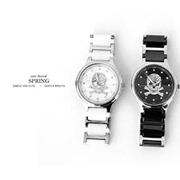 范倫鐵諾經典骷髏水鑽精密陶瓷不鏽鋼腕錶