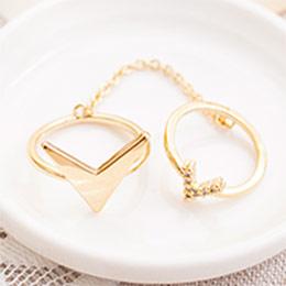 浪漫情歌珍珠綴圓鑽雙環戒指