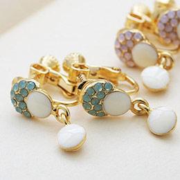 甜美魔法 小蘑菇鑲蛋白石 夾式耳環