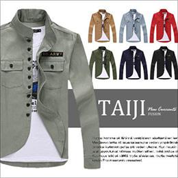 貼章立領黑釦素面長袖襯衫外套