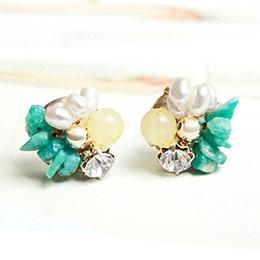 日本Kaza 精靈之石璀璨玉盤耳環