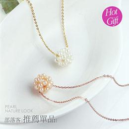 甜美雙色天然珍珠項鍊