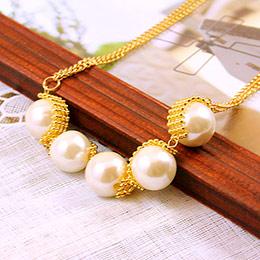 五顆珍珠排雙鍊設計 短項鍊