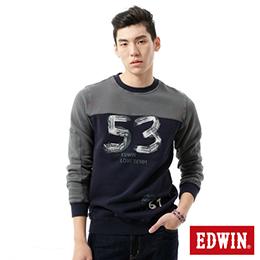 EDWIN 撞色剪接53 刷毛厚絨T