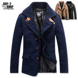 英倫皮革釦環大衣軍裝外套