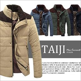 質感桃皮絨拼接麂皮絨立領夾克外套