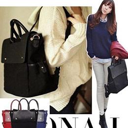 韓劇同款時尚設計簡約後背包。/手提後背包