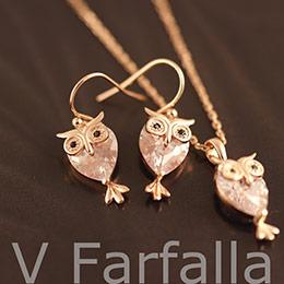 熱銷日本 貓頭鷹項鍊耳環組