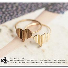 日本Kaza 清脆音韻波浪之心戒指
