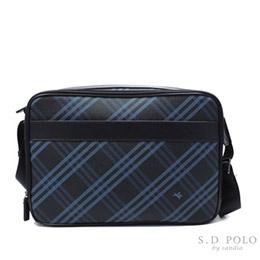 POLO 時尚藍斜格紋斜背包