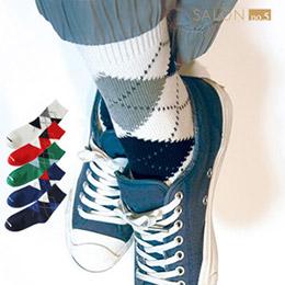 時尚菱形格紋短筒男襪