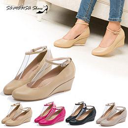 氣質百搭繫帶兩穿式楔形跟鞋 - 4色