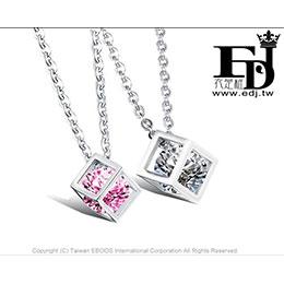 白鋼情侶對鍊-立方體吊墜愛情魔方鈦鋼情侶項鍊高品質飾品