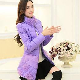 【鳶尾紫】羽絨服 甜美蕾絲花邊