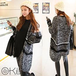 韓版混色寬鬆雙線開襟針織外套