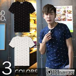韓版小船錨滿版印花短袖T恤共3色