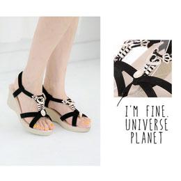 金屬皇冠愛心楔型涼鞋