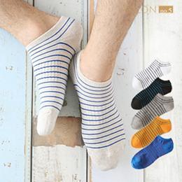 男款條紋運動隱形船襪