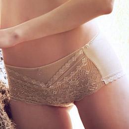 素色天然棉中腰平口褲