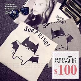 Q版卡通圖蝙蝠印花短袖T恤