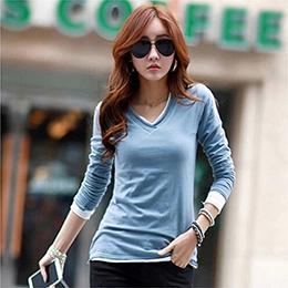 韓版V領修身長袖T恤(5色)