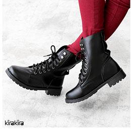 搖滾風低跟綁帶中筒靴