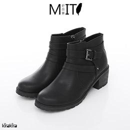 黑釦皮革拉鍊低跟短靴