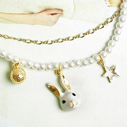 日本Kaza 毛線球物語白貓玉兔手鍊