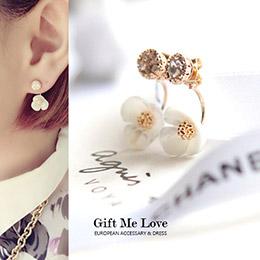 珍珠貝立體花朵925純銀耳環