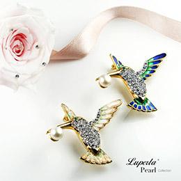 璀璨蜂鳥 珍珠項鍊胸針兩用款