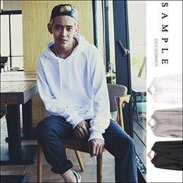台灣製 全素 下擺弧形連帽長袖T恤