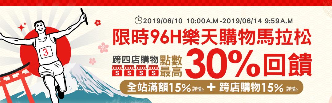 限時96H樂天購物馬拉松:跨四店購物點數最高30%回饋