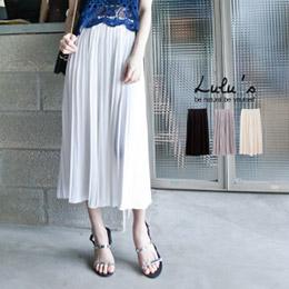 百褶腰鬆緊雪紡褲裙(3色)