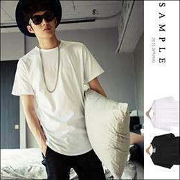 台灣製 下擺圓弧設計素面短袖T恤