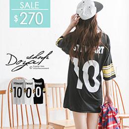 白荳芽DOYA*寬條紋背面10號長版洋裝