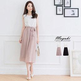 直條紋拼素色無袖連身長裙