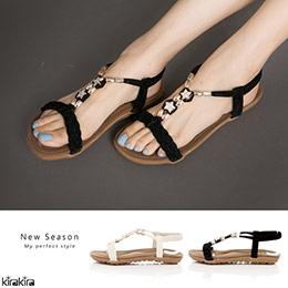波希米亞編織水鑽星細緻絨涼鞋