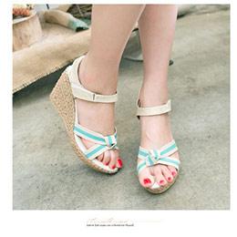夏日蝴蝶結楔型厚底涼鞋