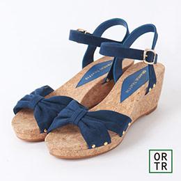 俏麗蝴蝶結繫帶楔型涼鞋