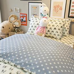 藍色星星法鬥 舒適磨毛床包組
