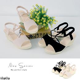浪漫氣質素色線條楔型涼鞋