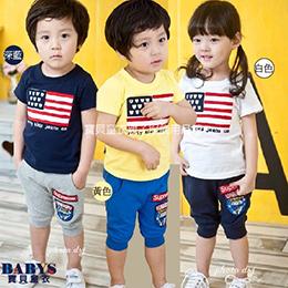 歡慶美國國慶!國旗休閒短袖套裝(兩件組)