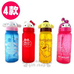 Sanrio三麗鷗 造型吸管式水壺《4款.大臉.500ml》夏日清涼透明系