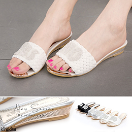 閃耀星鑽YESorNO編織金屬跟楔型拖鞋
