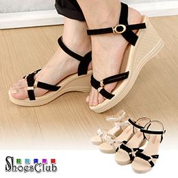 質感編織壓花楔型涼鞋
