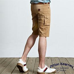 韓系合身釘釦口袋工作短褲