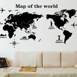 DIY無痕創意牆貼/壁貼-世界地圖