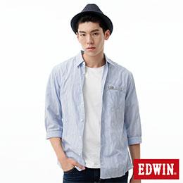 EDWIN 雙色直條泡布短袖襯衫