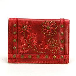 KENZO 魅力紅民族風花飾證件名片夾